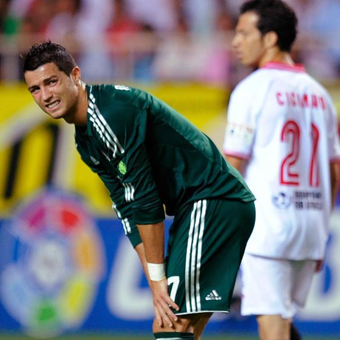 В зеленой форме Роналду выглядит еще более несчастным
