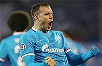 Дзюба забивает быстрейший гол «Зенита» в Лиге чемпионов