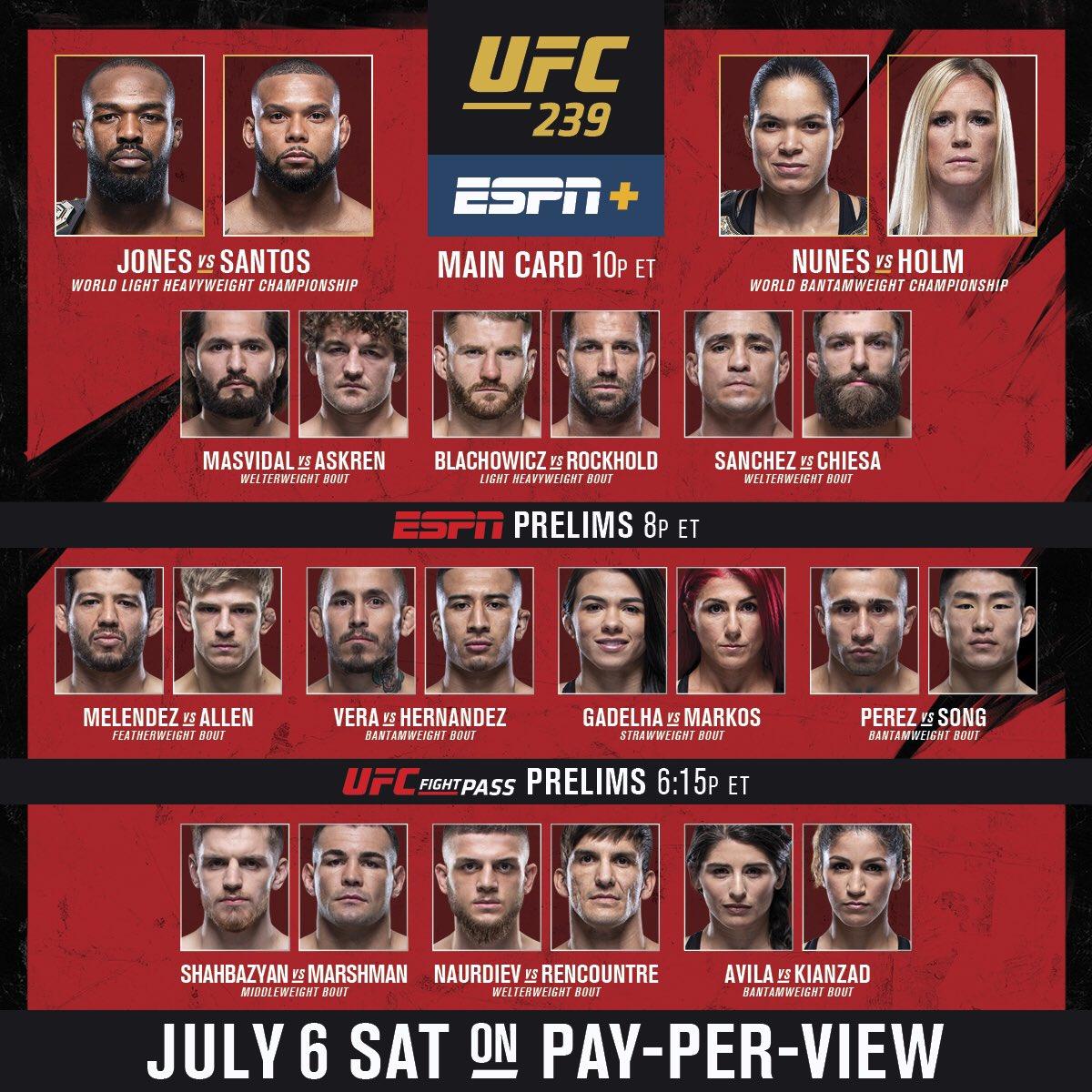 Джонс – Сантос, Нуньес вынесла Холм, Масвидаль уничтожил Аскрена за 5 секунд. Онлайн UFC 239