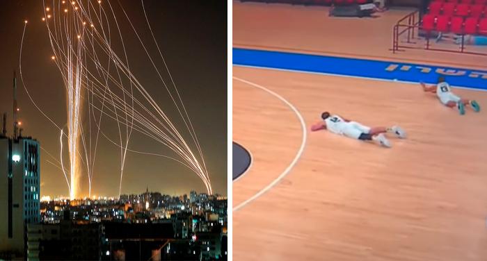 Баскетбольный матч в Израиле прервала ракетная тревога. Просто посмотрите на реакцию игроков