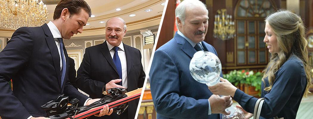 Лукашенко заваливают спортивными подарками (как много в мире добрых людей!): костюм – от Тетерина, ботинки – от фирмачей, стадион – от Китая
