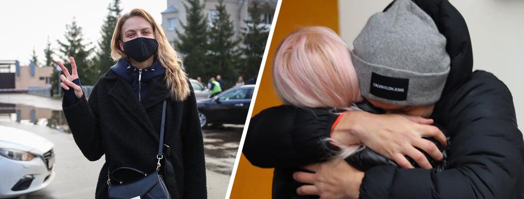 Спортсменам в Беларуси не привыкать выходить с суток – на воле их ждут трогательные встречи с объятьями, цветами и слезами
