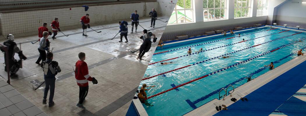 Вот что стало с легендарным бассейном в Сморгони, на дне которого детей обучали хоккею