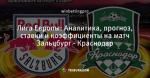 Лига Европы: Аналитика, прогноз, ставки и коэффициенты на матч Зальцбург - Краснодар