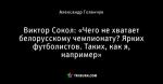 Виктор Сокол: «Чего не хватает белорусскому чемпионату? Ярких футболистов. Таких, как я, например»