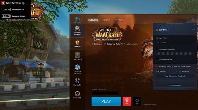 Стрим в Facebook через Battle.net. Как это выглядит