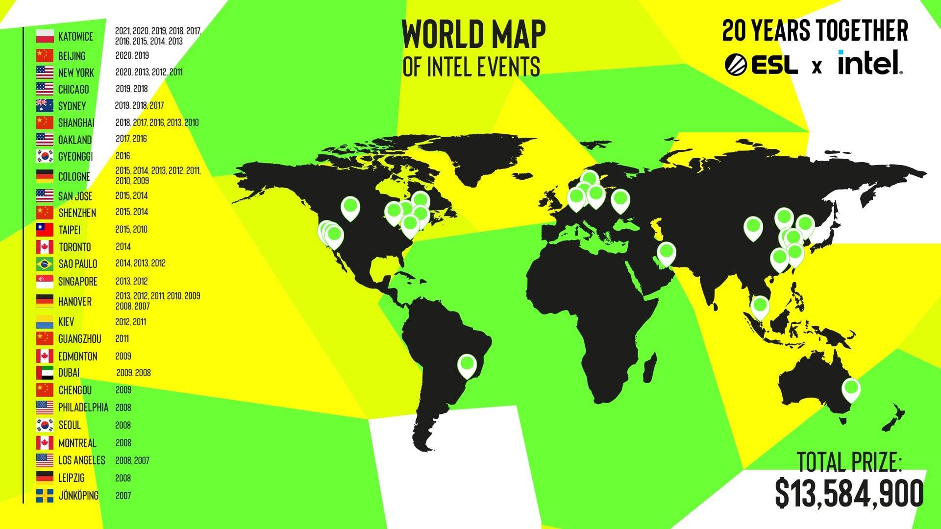 ESL перепутала цвета на флаге Украины на карте со всеми городами, в которых проходили турниры серии Intel