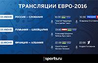 сборная Франции, сборная России, сборная Словакии, телевидение, сборная Румынии, сборная Албании, Евро-2016, сборная Швейцарии