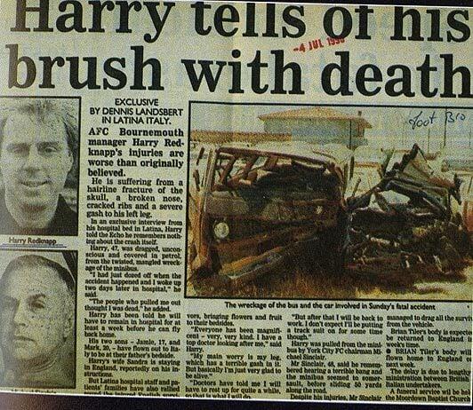 Харри Реднаппа считали погибшим в аварии: врачи даже накрыли тело простыней. Он выжил, потеряв обоняние и заработав лицевой тик