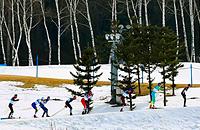 Большунов борется за золото в лыжном марафоне. Онлайн Олимпиады