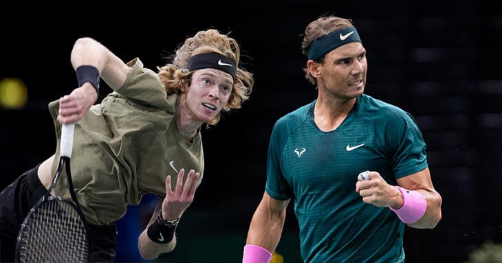 Рублев против Надаля на итоговом турнире ATP. Андрей проиграл первый сет. Онлайн