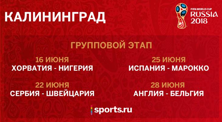 Чемпионат мира по футболу 2018 - матчи в Калининграде