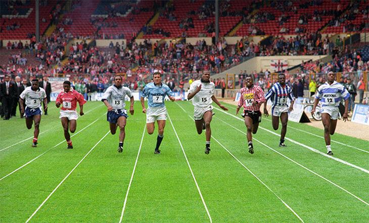 Сюрреализм из Англии начала 90-х: мини-турнир по стометровке среди футболистов. Прямо на «Уэмбли»!