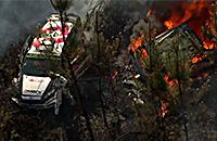 Раллийный автомобиль сгорает дотла