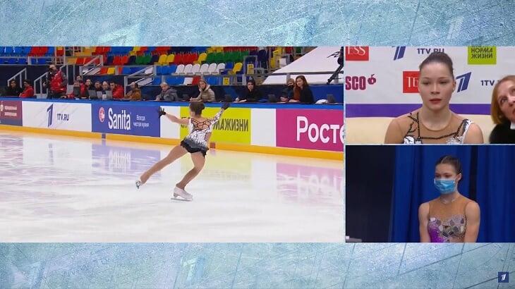 Фигуристки-близняшки встретились на Кубке России: обнимались на льду, аплодировали друг другу, вместе ждали оценки