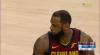 LeBron James rattles the rim on the finish!