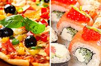 Закажите доставку вкусной пиццы или роллов со скидкой 500 рублей
