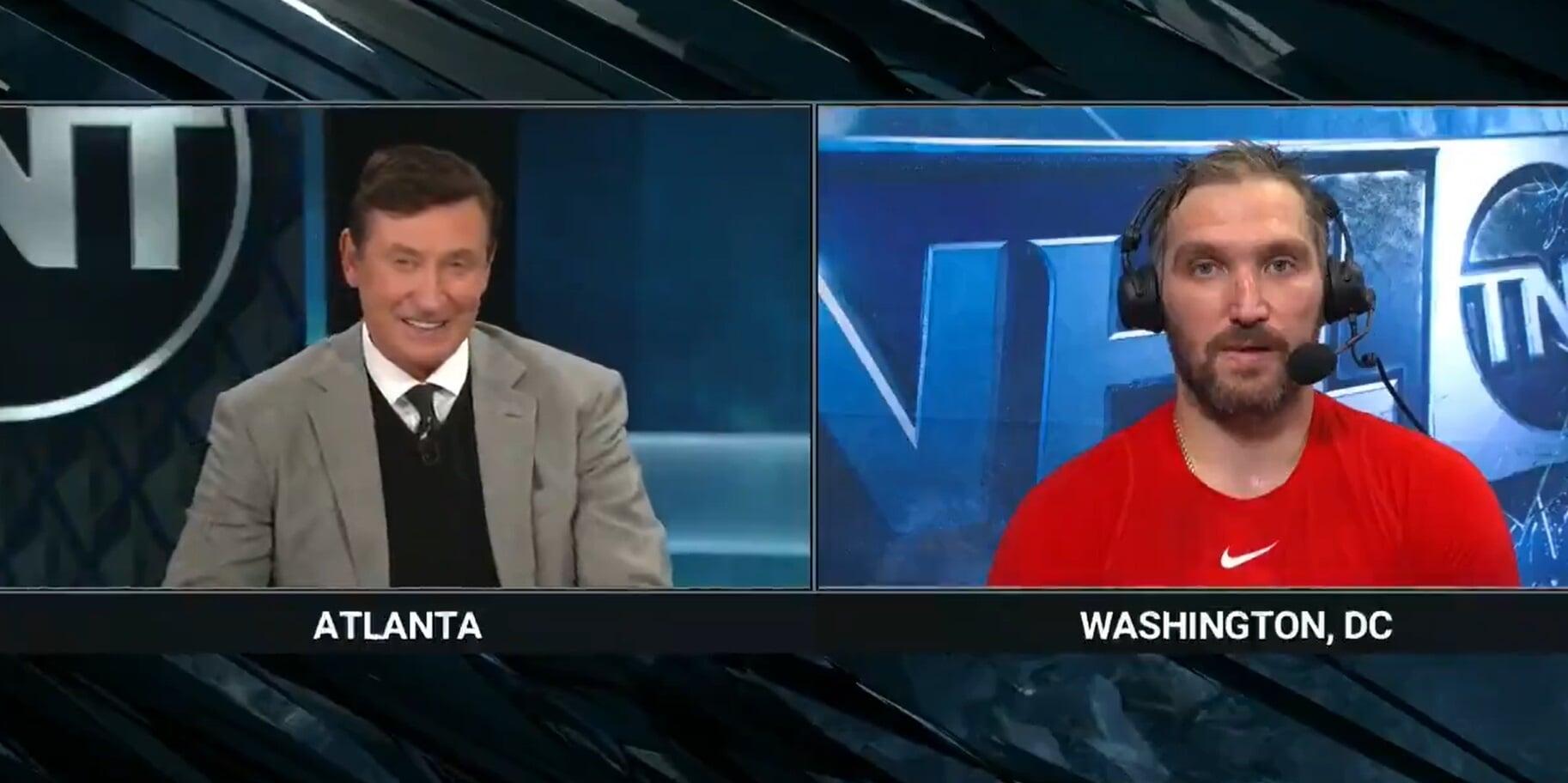Гретцки взял интервью у Овечкина после матча с Рейнджерс: Привет, Алекс. Это Уэйн