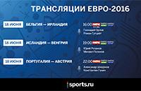 сборная Португалии, сборная Бельгии, сборная Австрии, сборная Венгрии, телевидение, сборная Ирландии, сборная Исландии, Евро-2016