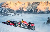 Болид «Формулы-1» покоряет горнолыжную трассу