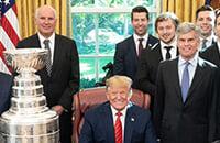 Тарасенко и Барбашев – на приеме у Трампа. Президент США поздравил «Сент-Луис», но снова ошибся с хоккеистом