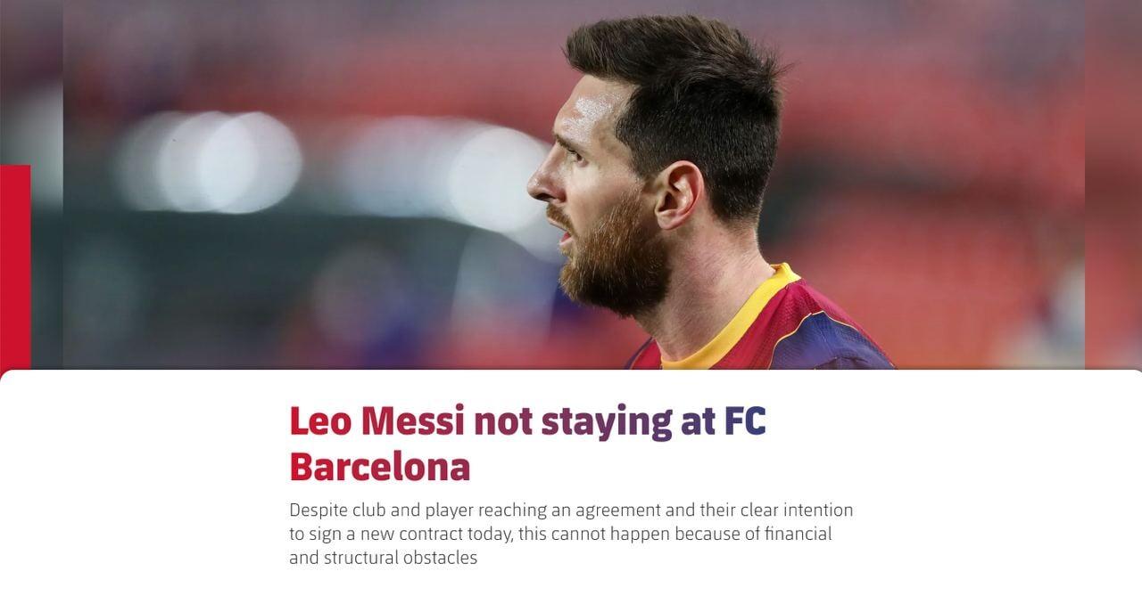 Месси уходит из «Барселоны» – это официально. Онлайн