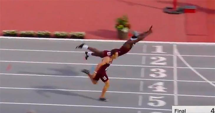 Американский бегун вырвал победу взабеге благодаря «прыжку супермена» нафинише