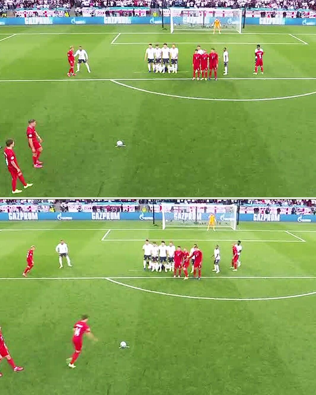 Дамсгору помогла стенка из своих (трое закрыли обзор Пикфорду), а гол Англии сделало умнейшее движение Кейна
