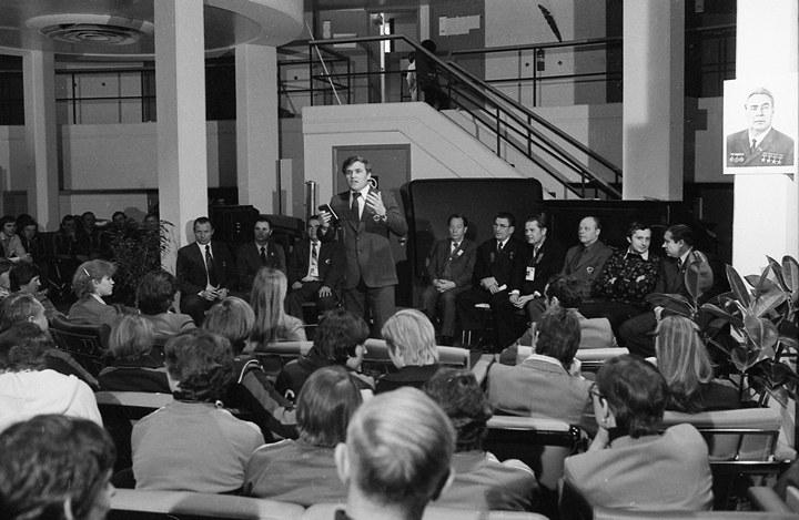 Собрание советской делегации в олимпийской деревне Лейк-Плэсида