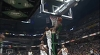Thaddeus Young rises to block the shot