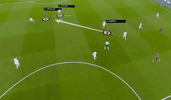 🎯 Гол Смолова «Реалу» – искусство: идеально рванул между защитников, шикарно подработал, забил вторым касанием