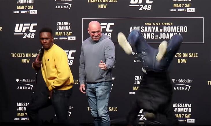 Звезды UFC вместо дуэли взглядов устроили танцевальный баттл. Один вообще выдал сальто!