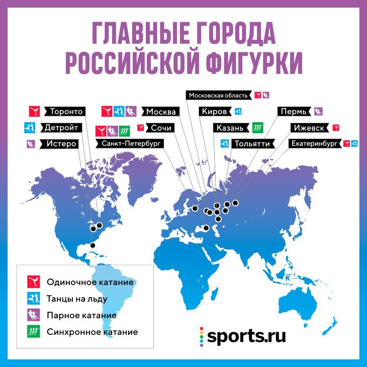 Карта фигурного катания – от Перми до Торонто: почему из провинции бегут в Москву, а оттуда – в США и Канаду?