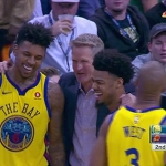 """Warriors Talk on Instagram: """"Swaggy and Dragan Bender get into it. Kerr diffuses the situation. Young and Bender dap eachother up shortly after. Everyone is friends.…"""""""