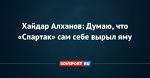 Хайдар Алханов: Думаю, что «Спартак» сам себе вырыл яму