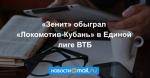 «Зенит» обыграл «Локомотив-Кубань» в Единой лиге ВТБ