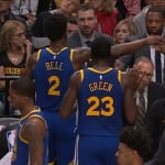 """Draymond Green's leadership after Jordan Bell's missed dunk was awesome. 🙏🙏🙏"""