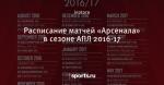 Расписание матчей «Арсенала» в сезоне АПЛ 2016-17