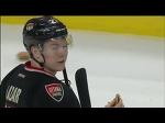 Curtis Lazar eats hamburger thrown on ice