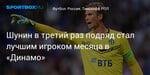 Футбол. Шунин в третий раз подряд стал лучшим игроком месяца в «Динамо»