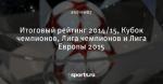 Итоговый рейтинг 2014/15, Кубок чемпионов, Лига чемпионов и Лига Европы 2015 - Liga Inside - Блоги - Sports.ru