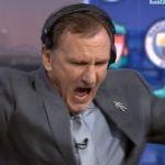 WATCH: Phil Thompson celebrates Liverpool's away goal at Man City