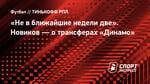 «Невближайшие недели две». Новиков— отрансферах «Динамо»