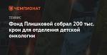 Фонд Плишковой собрал 200 тыс. крон для отделения детской онкологии