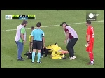 Greek stretcher-bearer falls over and drops injured player twice in farcical scenes