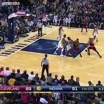 LeBron's dunk DENIED by rookie Myles Turner.