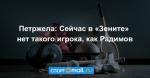Петржела: Сейчас в «Зените» нет такого игрока, как Радимов