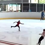 """Figure Skating ⛸'s Instagram post: """"Rika's 3F+3Lo at a camp with Stephane in Switzerland😍😳 incredible combination, she rotated crazy fast and barely pauses between the two…"""""""