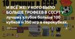 И ВСЁ ЖЕ! У КОГО БЫЛО БОЛЬШЕ ТРОФЕЕВ В СССР? У лучших клубов больше 100 кубков и 350 игр в еврокубках.