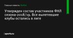 Утвержден состав участников ФНЛ сезона-2018/19. Все вылетевшие клубы остались в лиге